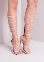 Knee High Strap Buckled Leather Heeled Gladiator Sandals Nude